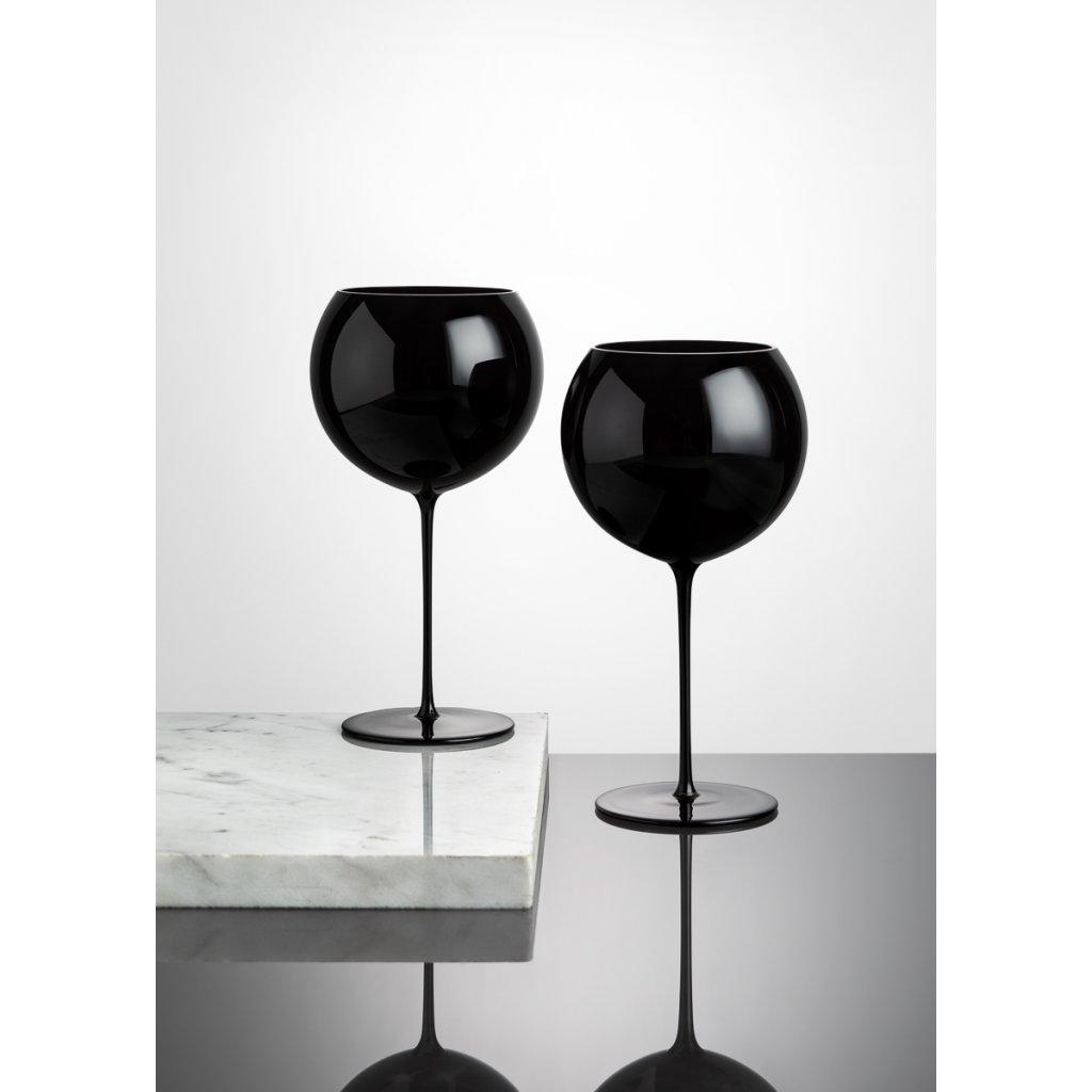 Bubble Glass Wine Set of 2 pcs black