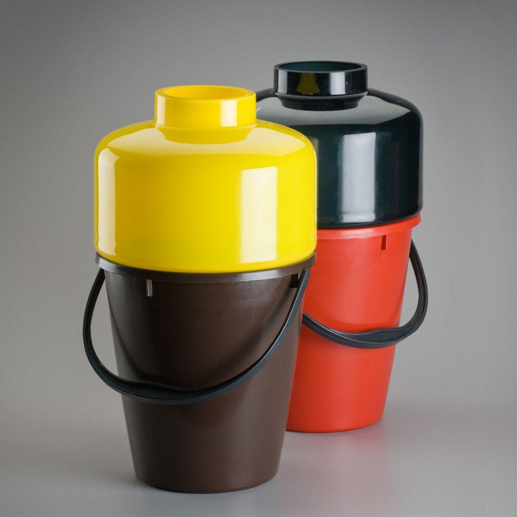 qubus jakub berdych karpelis bucket vases 2 yellow glass black glass