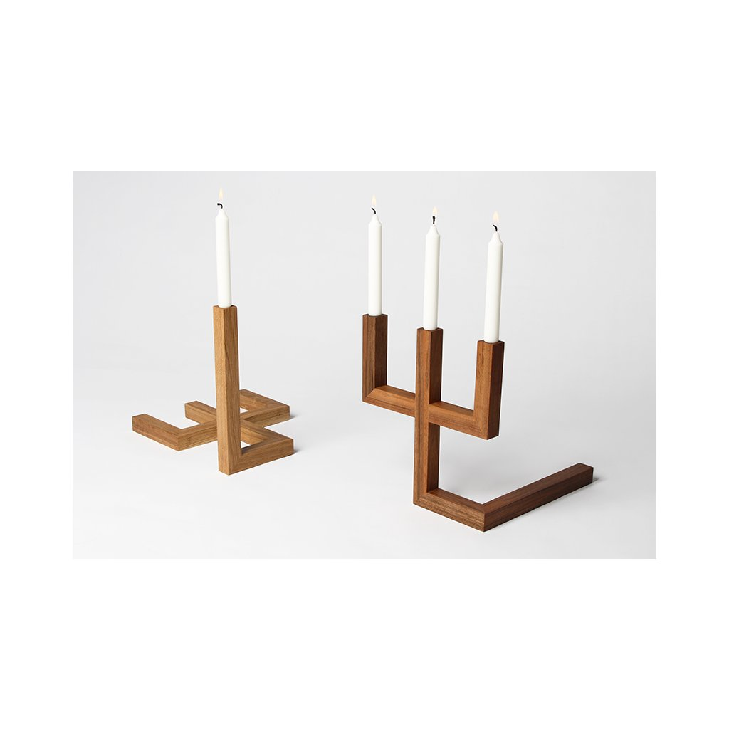 Three one candlestick wooden Mejd studio 21