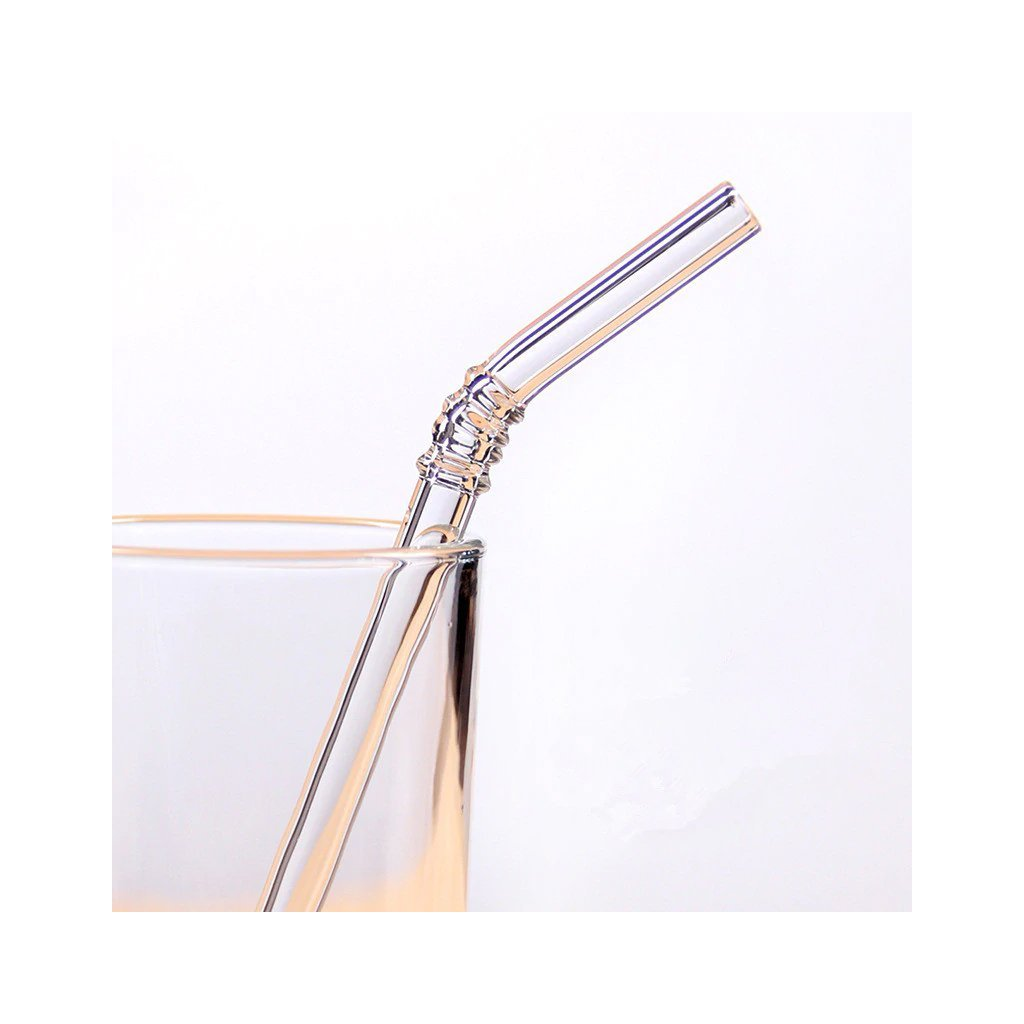 white glass straw