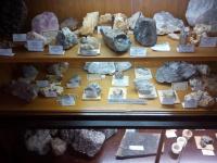 Část sbírky minerálů v obecním muzeu Bory