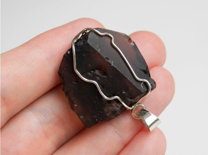 privesek stribrny s kamenem prirodnim surovym ceskym obrazky 1