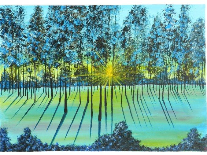 obraz rucne malovany akrylovymi barvami vychod slunce platno les obrazky 1