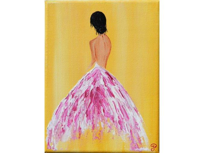 rucne malovany obraz baletka zluty akrylove barvy obrazek 1