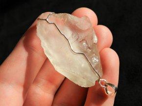 privesek kristal stribrny cesky pravy prirodni kamen obrazek 1