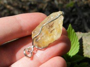 citrin stribrny privesek pravy cesky kamen zluty zlatavy vysocina obrazky prodej 4
