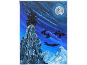 obraz rucne malovany modry draci akrylove barvy prodej 1