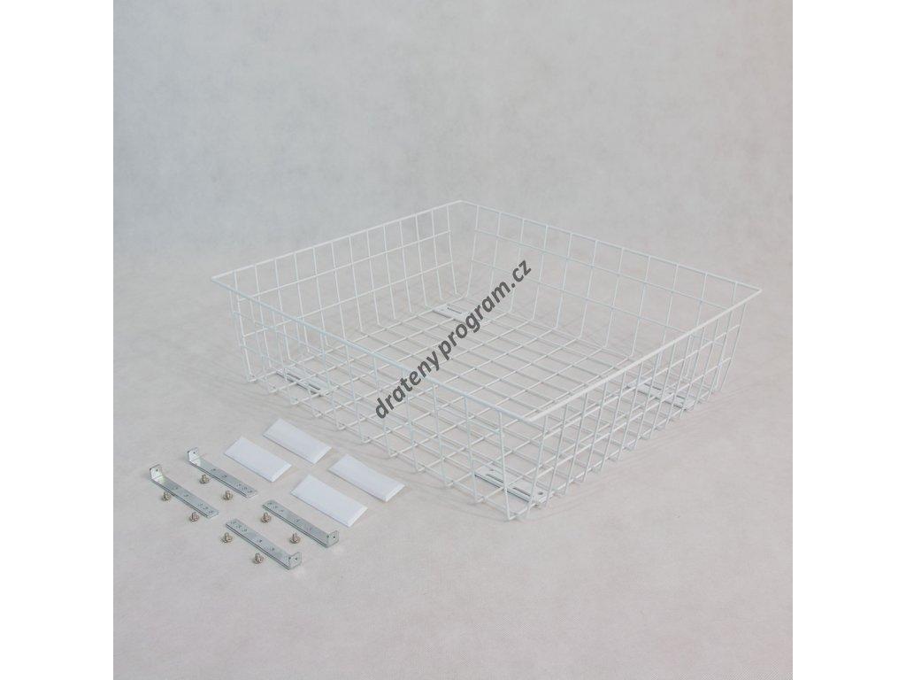 Výsuvný drátěný šatní koš 600/200 mm, bílý epoxid