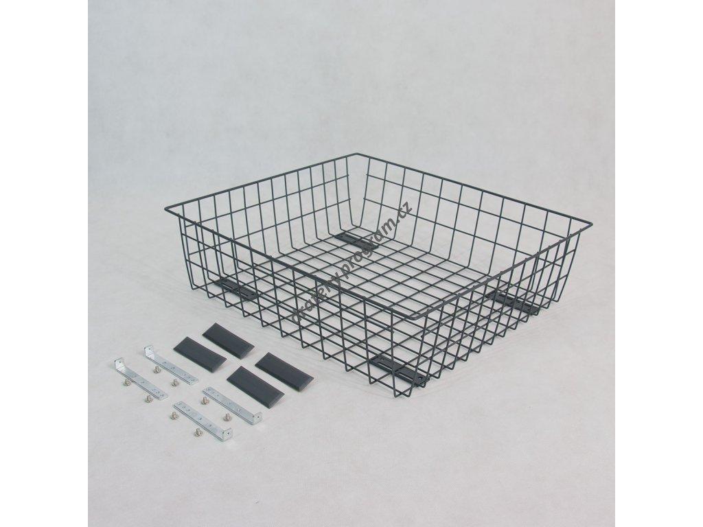 Výsuvný drátěný šatní koš 600/200 mm, stříbrný epoxid