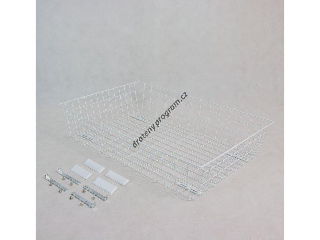 Výsuvný drátěný šatní koš 800/200 mm, bílý epoxid