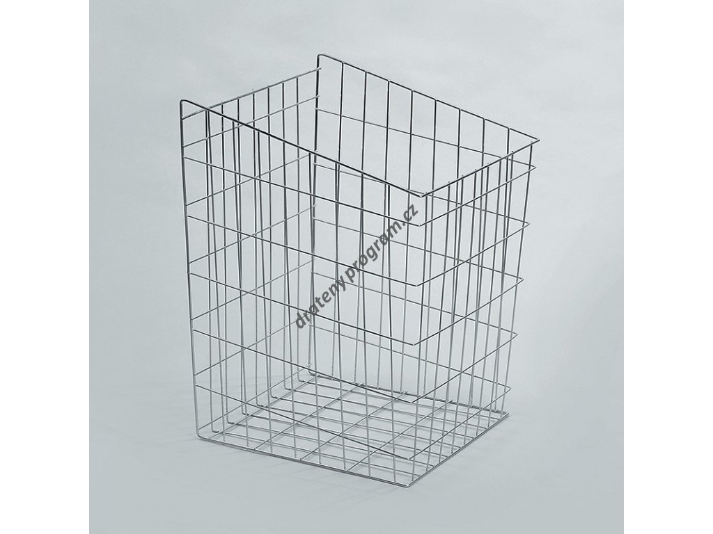 Prádelní koš výklopný, 340x445x600 mm, stříbrný epoxid