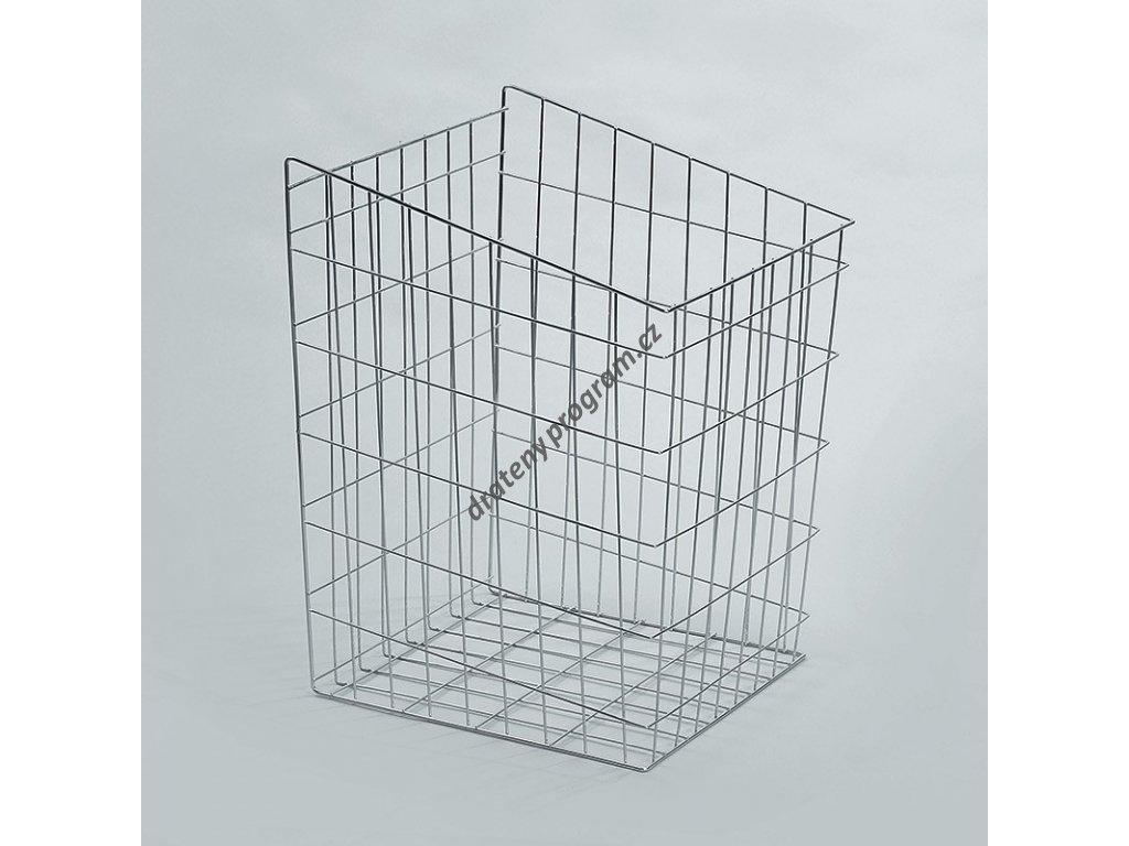 prádelní koš, 440x445x600 mm, stříbrný epoxid