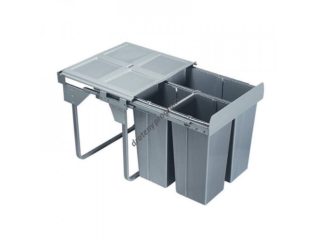 Výsuvný odpadkový 3-koš Komfort+montážní set pro úchyt dvířek, 1x 37 l + 2x17 l