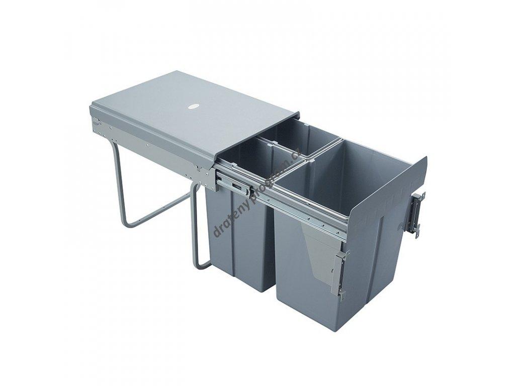 Výsuvný odpadkový 3-koš s úchyty dvířek,  2x10 l+1x20 l, K40-šedý plast