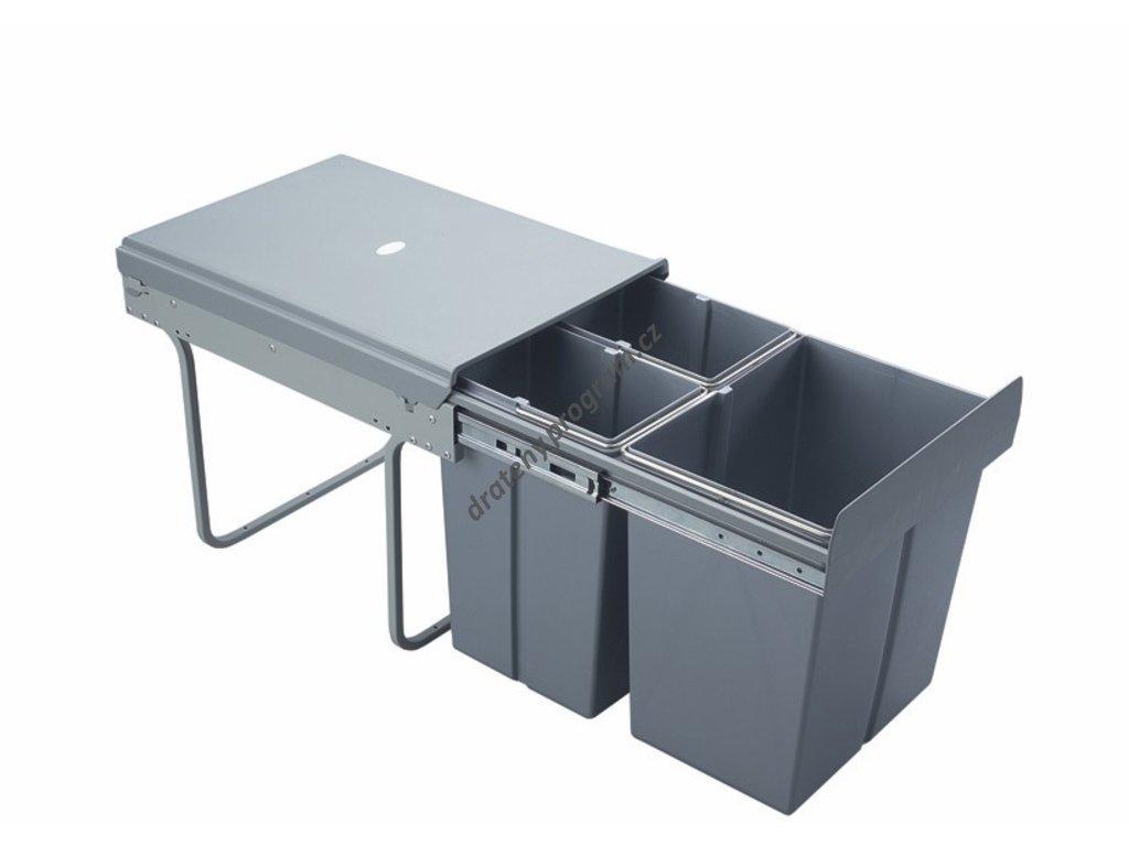 Výsuvný odpadkový 3-koš, 2x10 l+1x20 l, K40-šedý plast