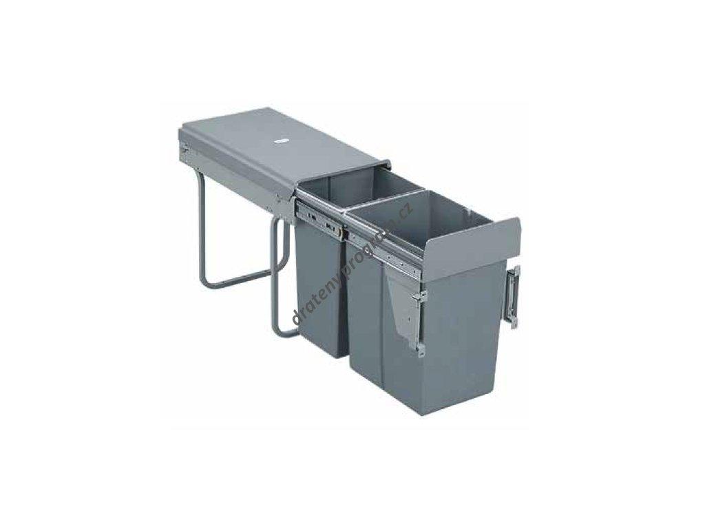 Výsuvný odpadkový 2-koš s úchyty dvířek, 1x20 l + 1x10 l, K30-šedý plast