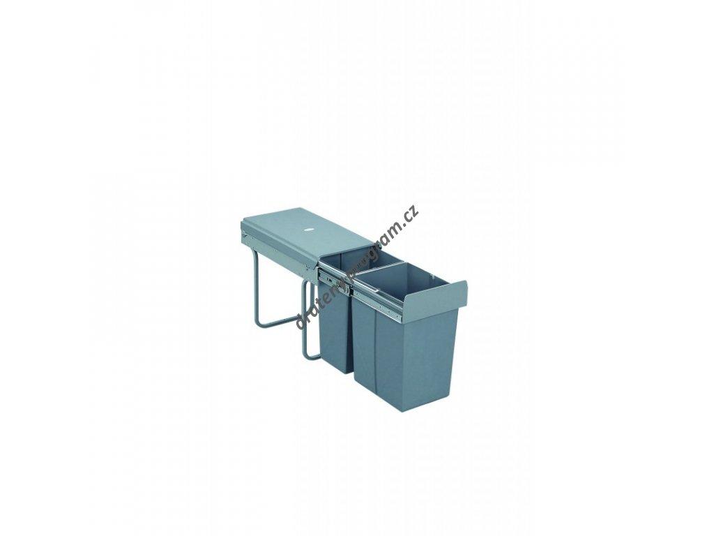 Výsuvný odpadkový 2-koš, 1x20 l + 1x10 l, K30-šedý plast