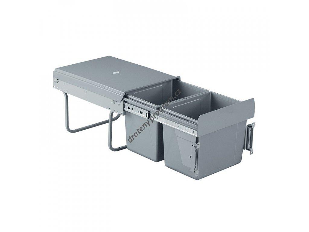 Výsuvný odpadkový 2-koš s úchyty dvířek, 2x15 l, K40-šedý plast