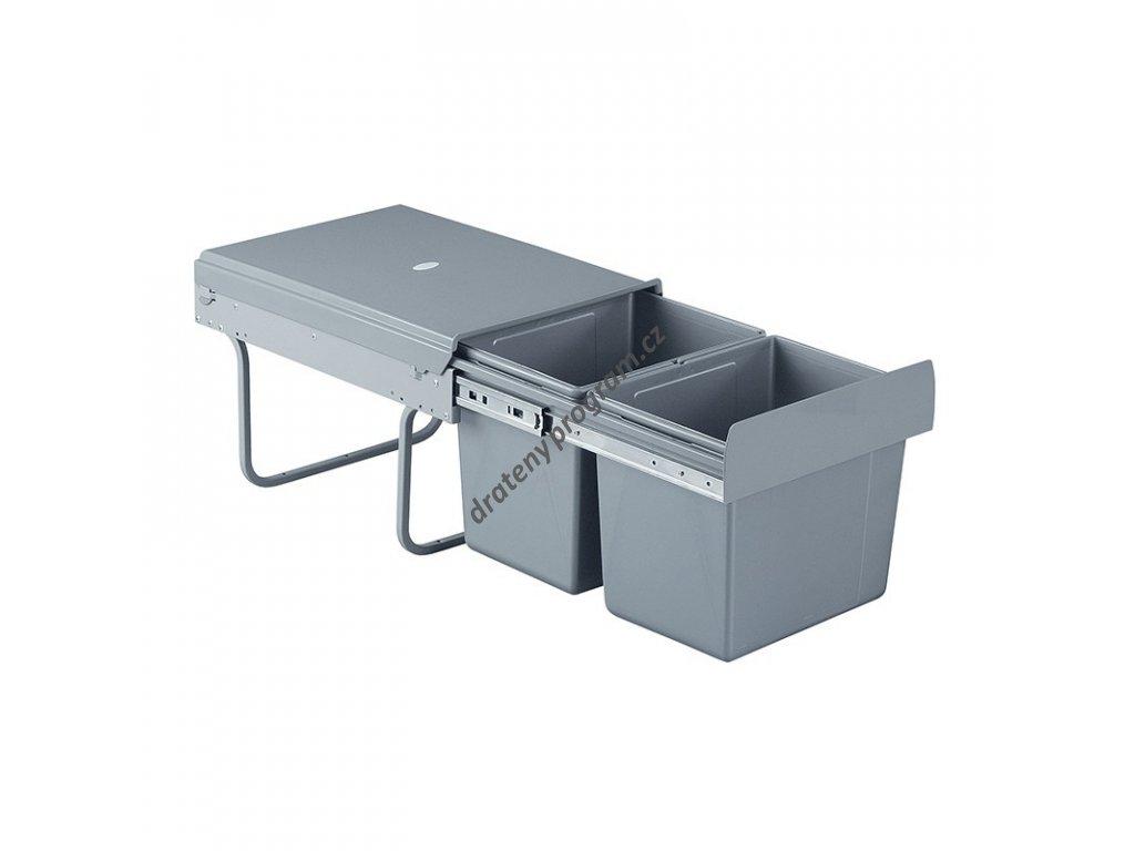Výsuvný odpadkový 2-koš, 2x15 l, K40-šedý plast