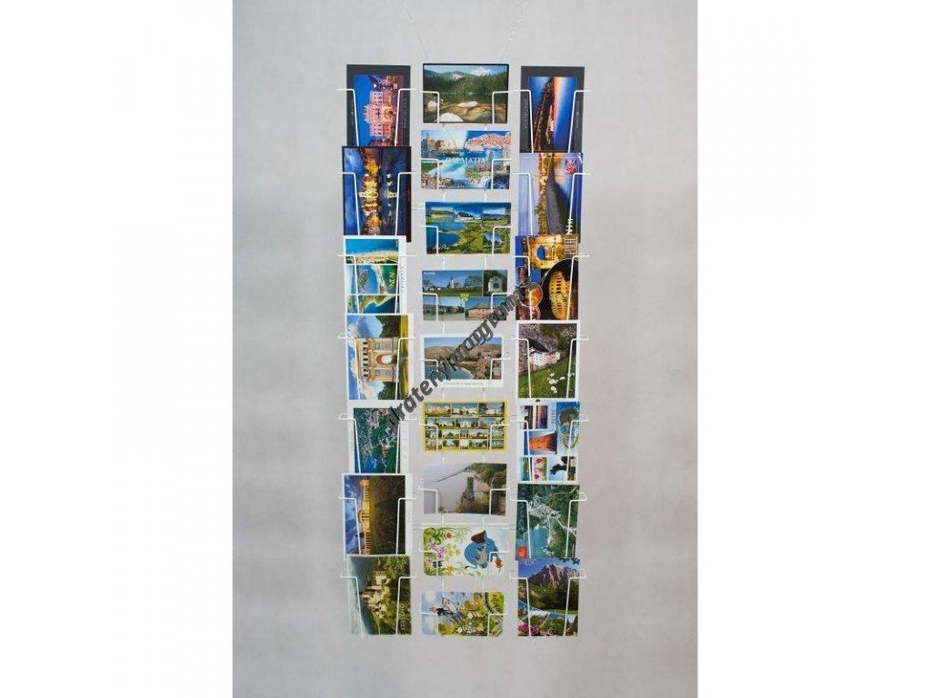 Kombinovaný nástěnný držák na 23ks pohlednic