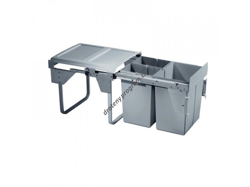Výsuvný odpadkový 3-koš Komfort s úchyty dvířek, 1x20 l + 2x10 l, K45-šedý plas