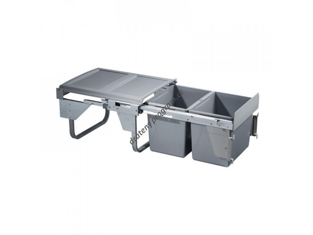 Výsuvný odpadkový 2-koš Komfort s úchyty dvířek, 2x15 l, K45-šedý plast