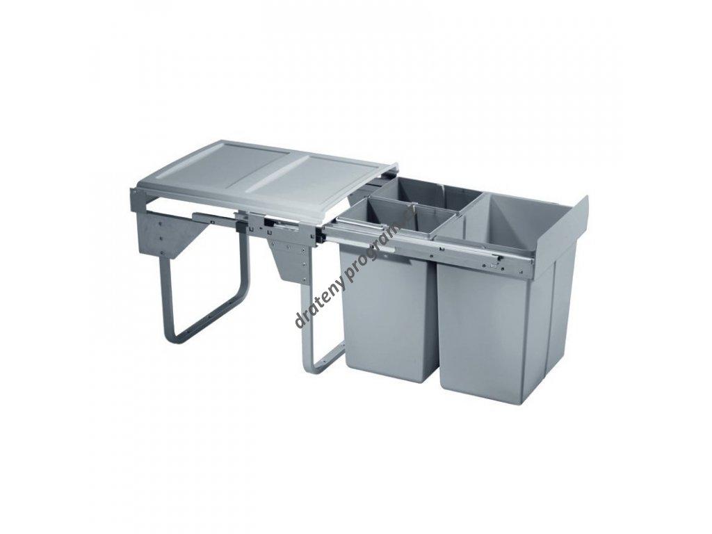 Výsuvný odpadkový 3-koš Komfort, 1x20 l + 2x10 l, K45-šedý plast