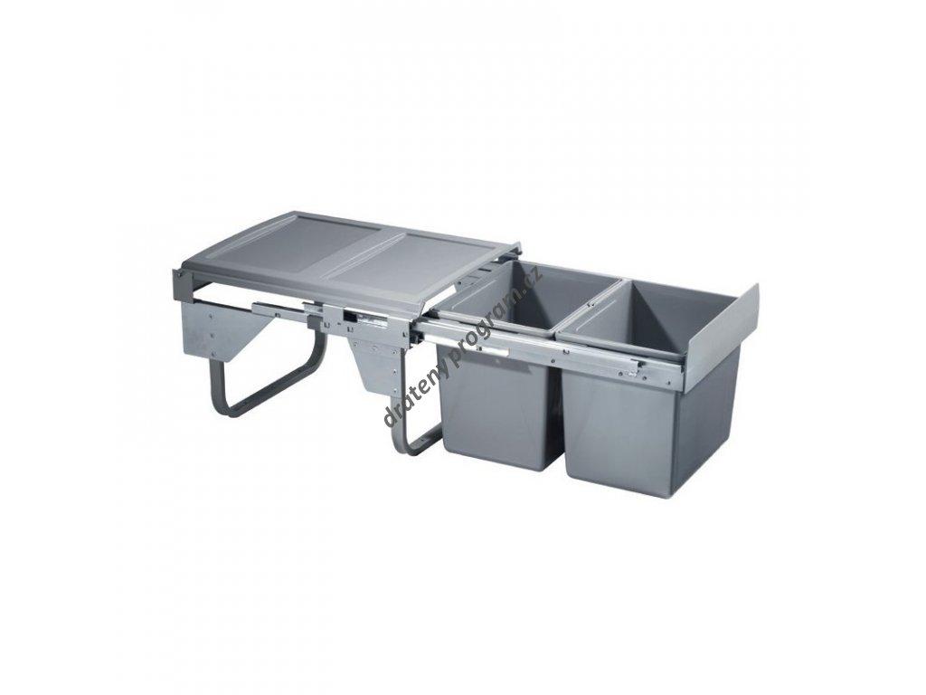 Výsuvný odpadkový 2-koš Komfort, 2x15 l, K45-šedý plast