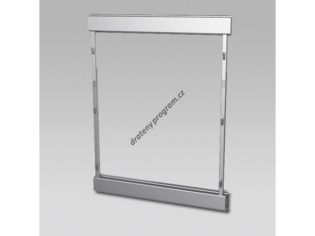 Plnovýsuvný rám boční Compact - levý, 610x480 mm, stříbrný komaxit