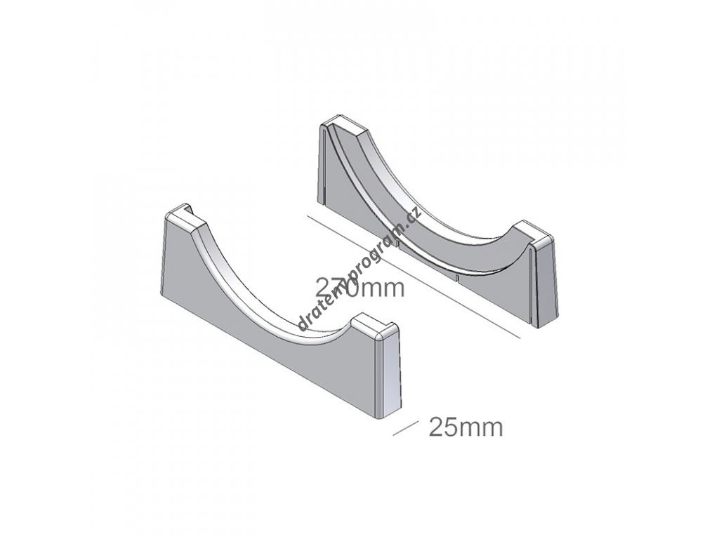 Koncovky pro zásobník na talíře, 270x25x85 mm, plast bílý