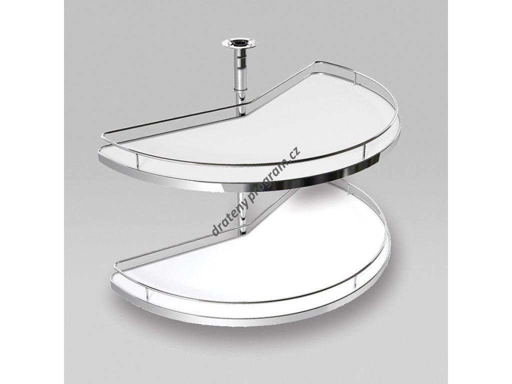 Karusel Compact 180°, plné dno, 710x420x630-730 mm, chrom