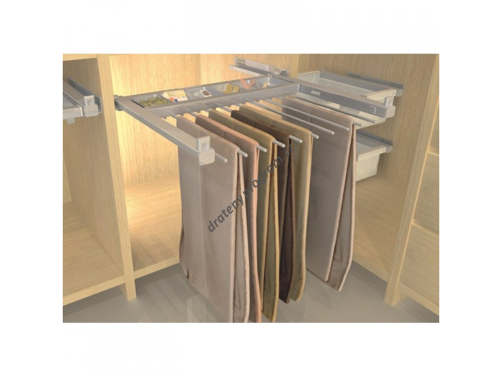 Plnovýsuvný věšák na kalhoty 8 ramen, Hettich, 500-600x477x63 mm, komaxit šedý