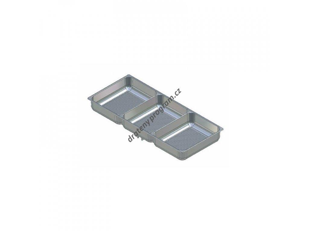 DOPRODEJ - Miska na doplňky, tři přihrádky, šedý plast