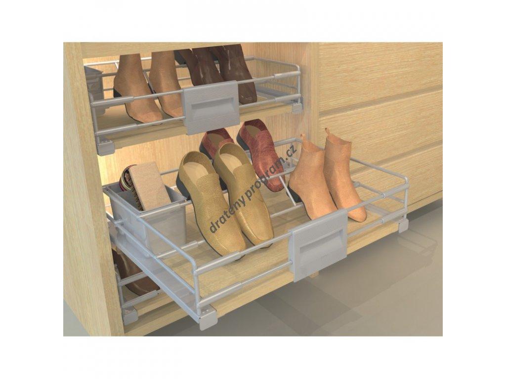 DOPRODEJ Výsuvný botník Hogar - railing pro lamino, výsuv Hettich, 600-700x476,5x137 mm,
