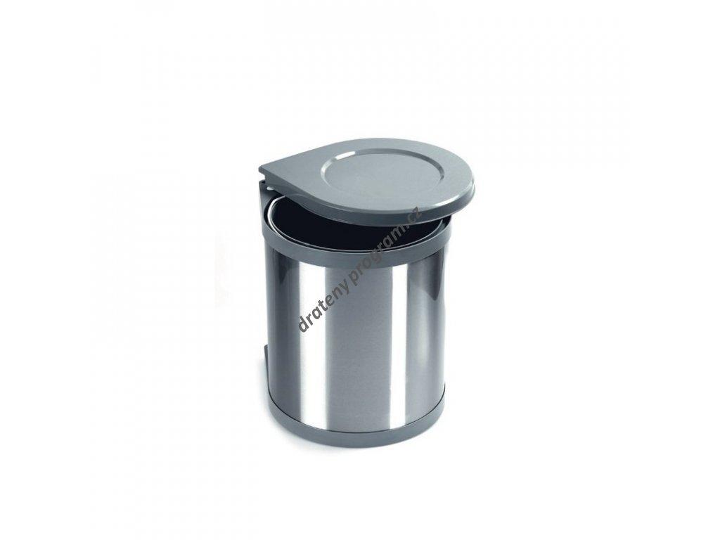 Odpadkový koš kulatý, 1x15 l, šedý plast, nerez