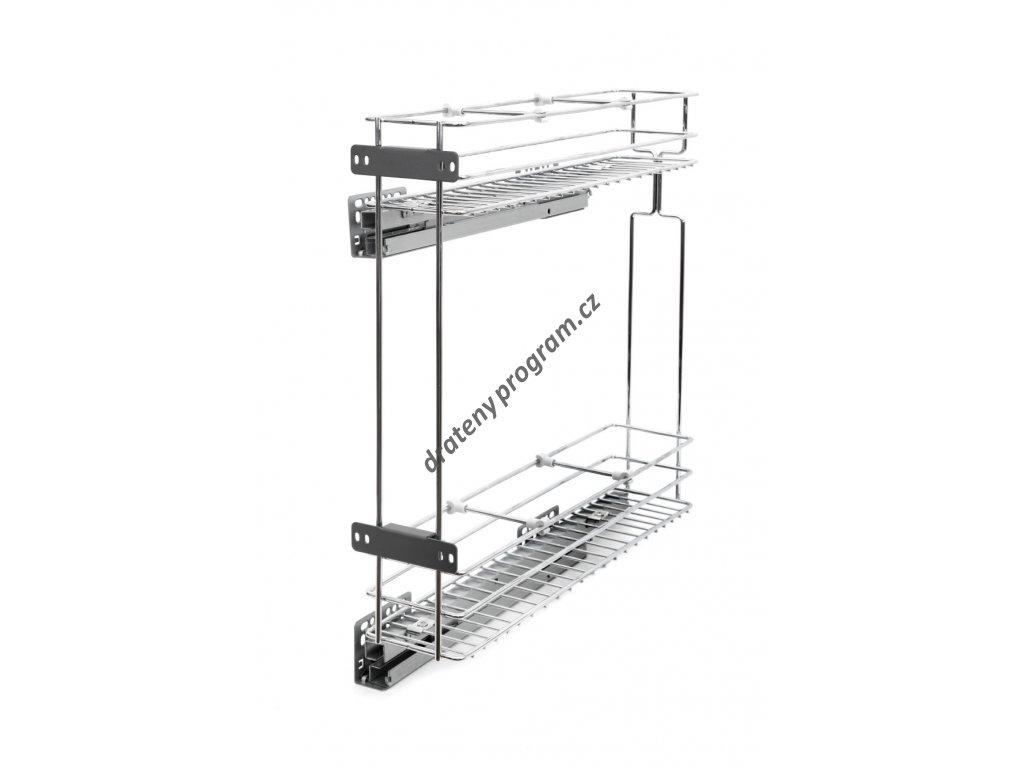 Plnovýsuvný dvojkoš boční Komfort s tlum. dovřením - Pravý, 110x465x515 mm, cr