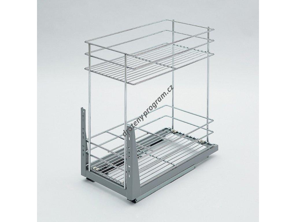 Plnovýsuvný dvojkoš Komfort spodní s tlumeným dovřením, 358x465x513 mm, chrom