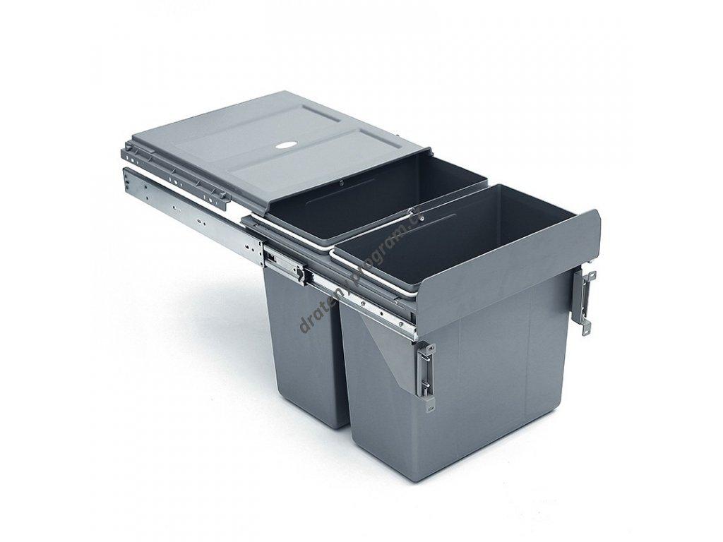Výsuvný odpadkový 2-koš s úchyty dvířek, 2x16 l, K40-šedý plast