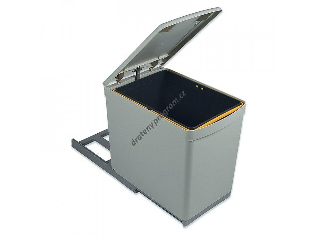 Výsuvný odpadkový koš, 1x16 l, K30 - šedý plast