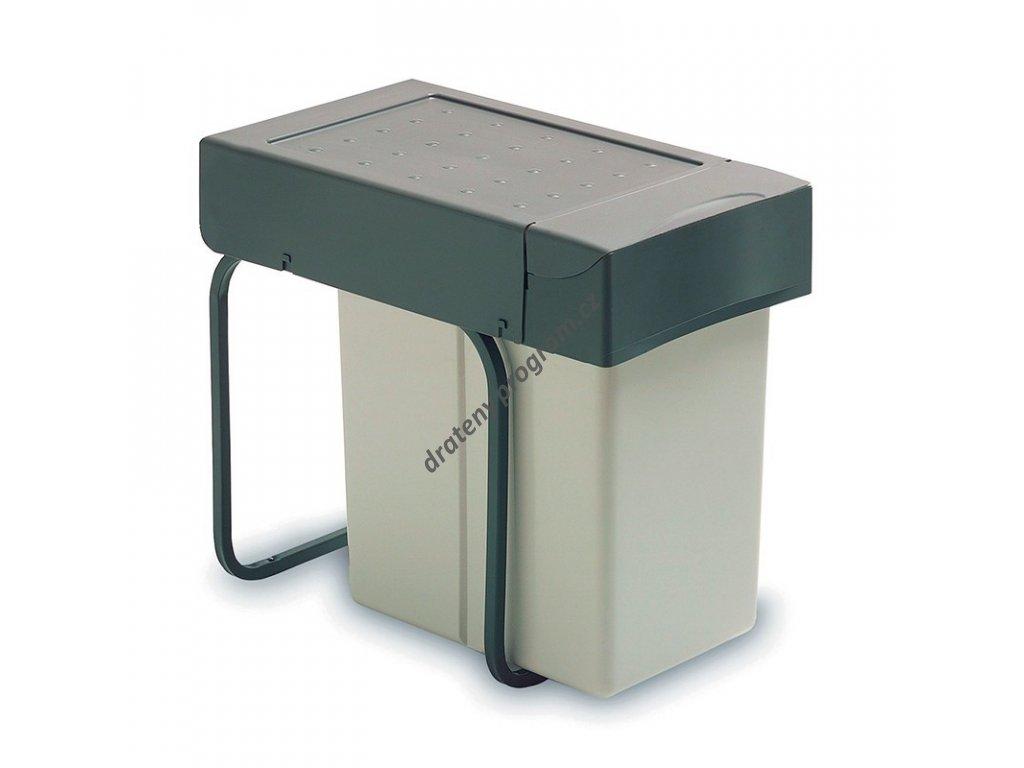 Výsuvný odpadkový koš, 1x20 l + miska, K30 - šedý plast