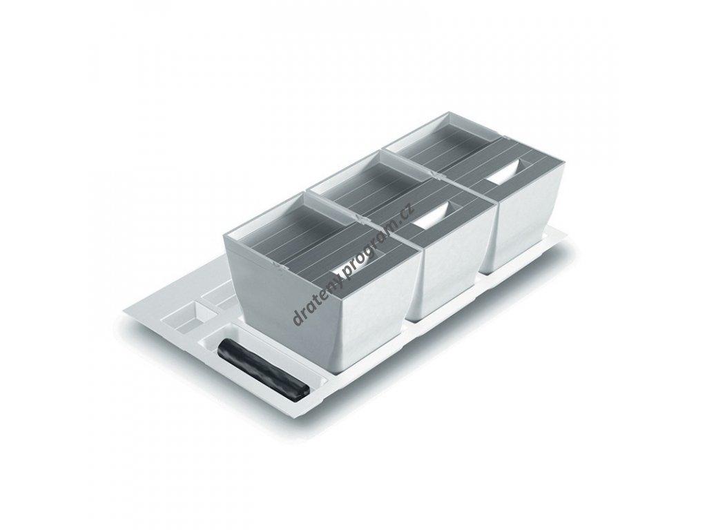 Odpadkový koš do šuplíku ELEGANCE 900, 3x13 l, K90 - bílý plast, nerez