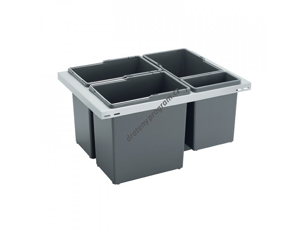 Odpadkový koš CUBE Basic 600, 3x12 l + 1x3,3 l, K60 - šedý
