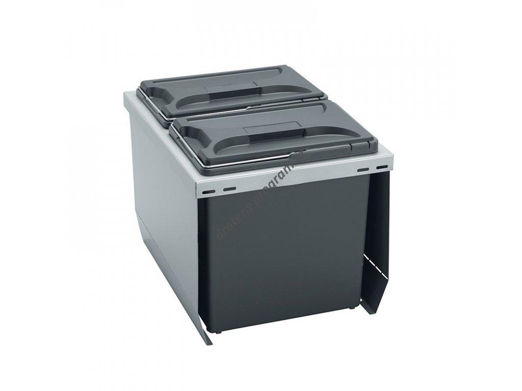 Odpadkový koš CUBE 400, 2x12 l, K40 - šedý