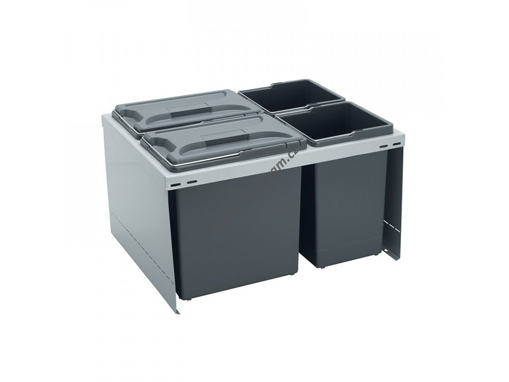 Odpadkový koš CUBE 600, 3x12 l + 1x3,3 l, K60 - šedý