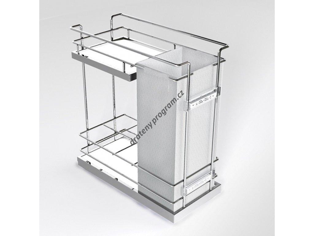 DOPRODEJ - Plnovýsuvný dvojkoš Compact spodní s úchyty na dvířka, na lahve a pečivo, plné dno