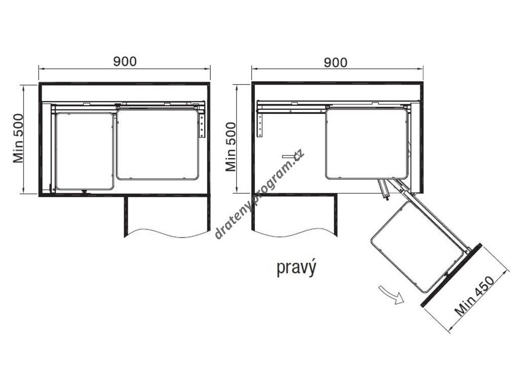 Slepý roh s tlumeným dovřením - Pravý, drátěné koše, 850x490x520 mm, chrom