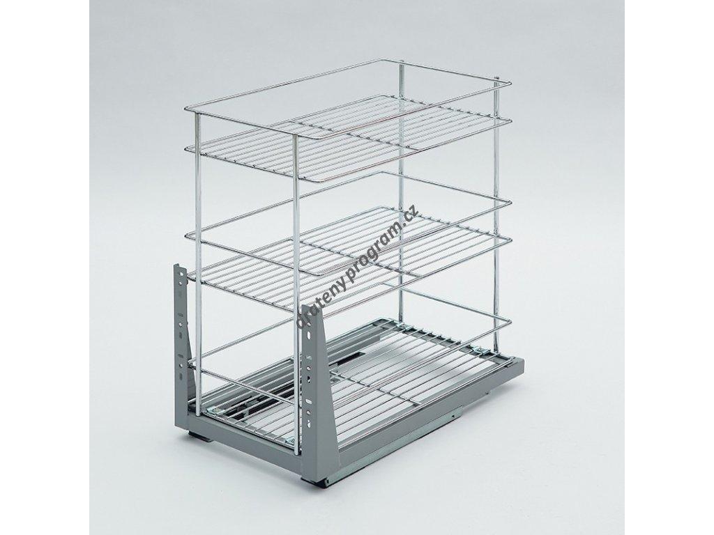 Plnovýsuvný trojkoš Komfort spodní s tlumeným dovřením, 358x465x513 mm, chrom