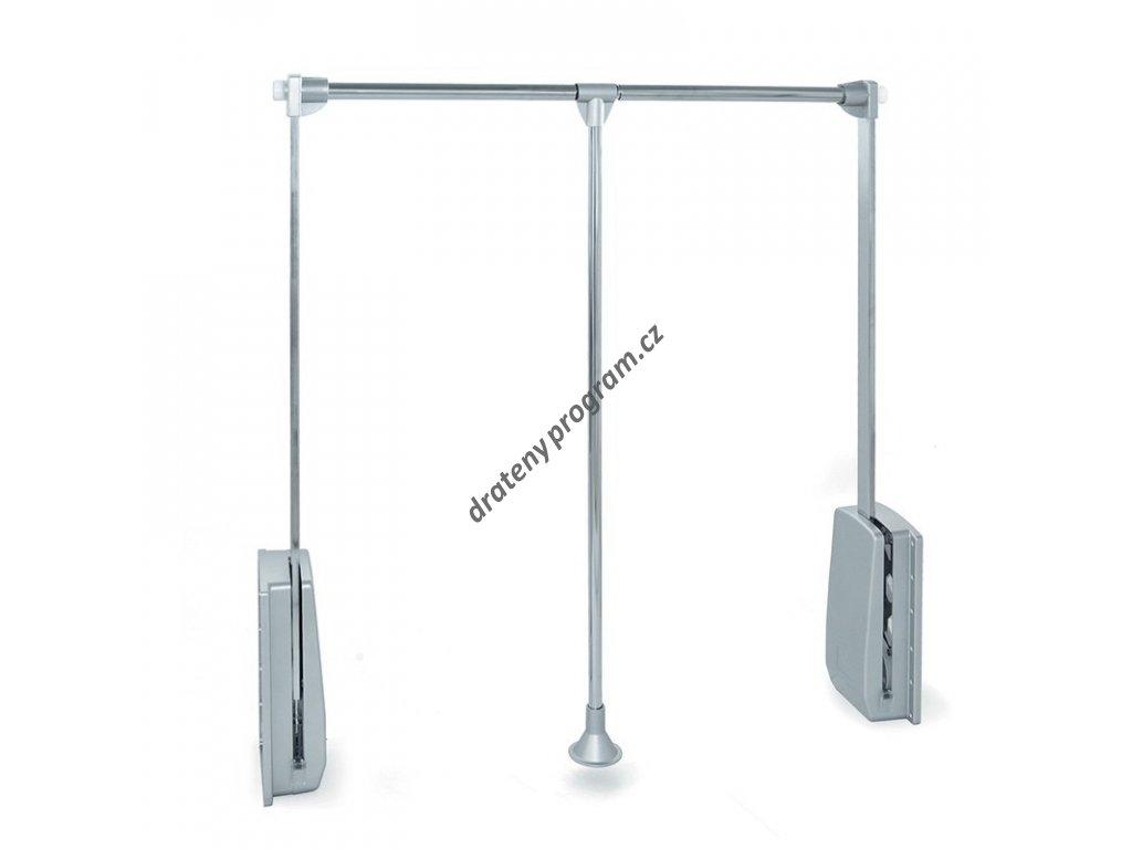 Sklopná šatní tyč - chrom, šedý plast 830-1150x140x840 mm