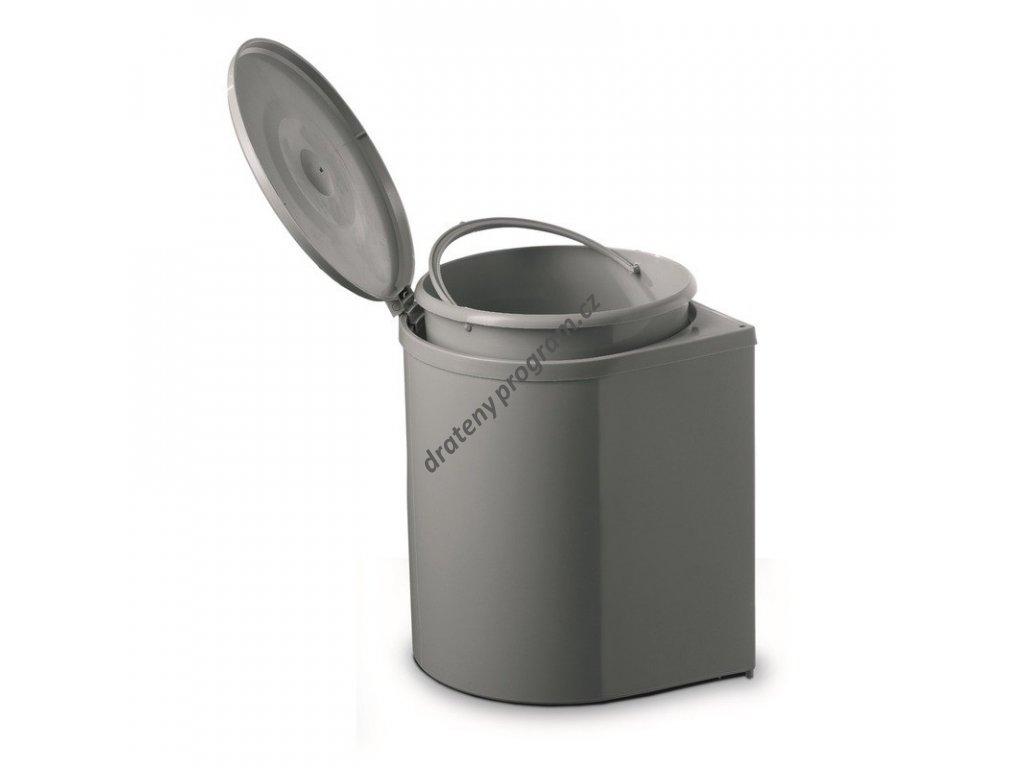 Odpadkový koš kulatý, 1x12 l, šedý plast