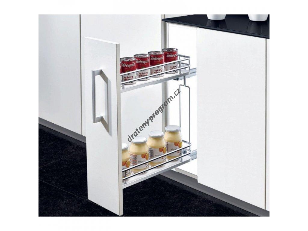 Plnovýsuvný dvojkoš boční Elegance s tlumeným dovřením - Pravý, 110x455x520 mm